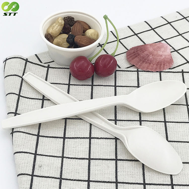 Free Sample Corn starch Cutlery Colorful Teaspoons Biodegradable Yogurt Ice Cream Spoon Set