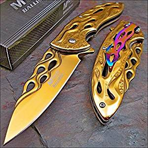 MTECH BALLISTIC GOLD Skeletonized Flame Blade Spring Assisted Opening Knife NEW