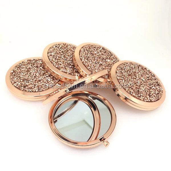 metal rose gold full stones jeweled makeup hollywood mirror CD-MQ056