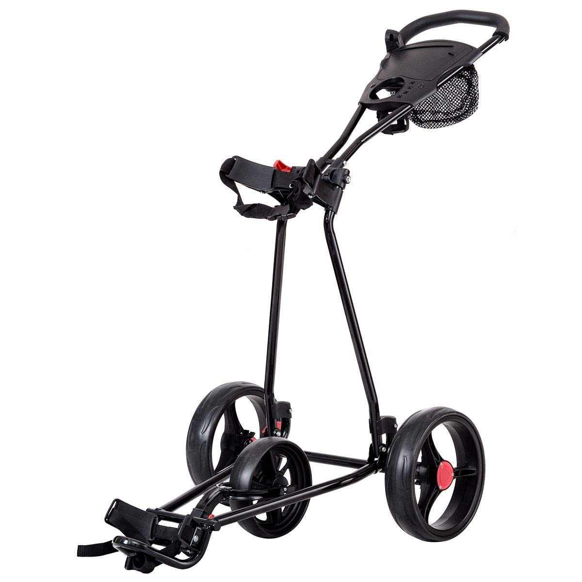 BeUniqueToday Durable Foldable Steel Golf Cart with Mesh Bag, Lightweight Foldable Steel Golf Cart with Mesh Bag, Foldable Steel Golf Cart with Easy Clip Bag Straps, Durable Foldable Steel Golf Cart