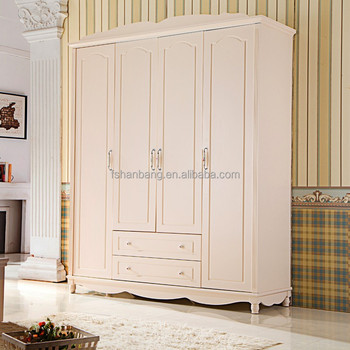White Wooden 4 Door Bedroom Furniture Clothes Wardrobe Cabinet