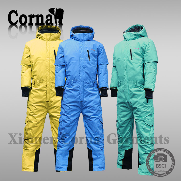 Customized windbreaker coverall colourful one piece snow suit