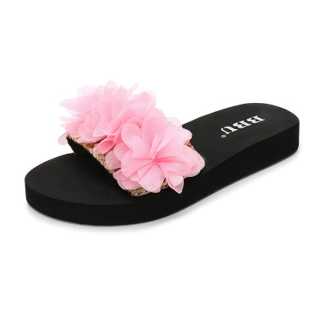 GIY Women's Bohemian Lace Flower Slide Sandals Fashion Platform Anti-Slip Flat Summer Beach Sandals