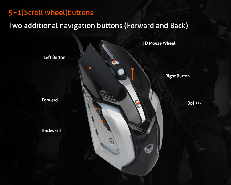 Factory Directly Sales 2400DPI 6D LED Backlit USB Wired Optical Mouse