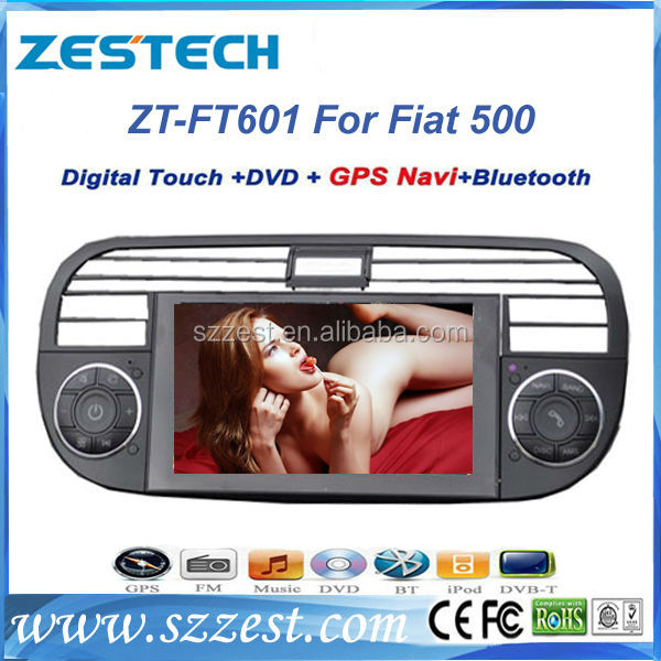 ZESTECH CAR DVD MONITOR for FIAT 500 1.6GHZ FREQUENCY STEERING WHEEL CONTROL SUPPORT RDS BLUETOOTH GPS