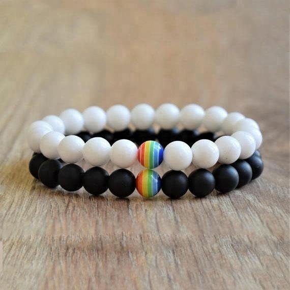 BN5161 Gay Pride Lesbian Love Equality Rainbow Bracelet,Rainbow with Black Onyx Beaded Chakra Reiki Bracelet фото