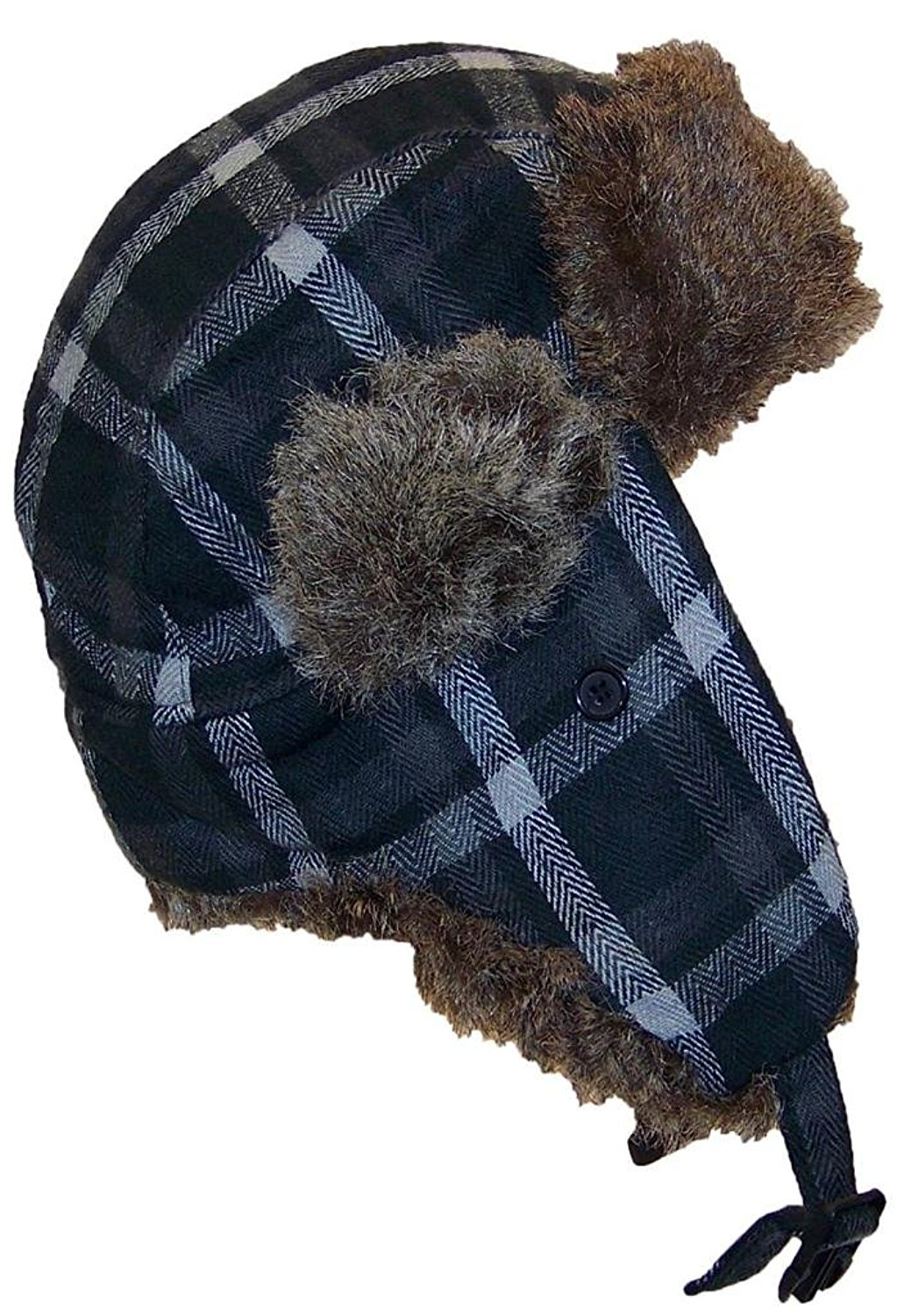 8141e0418ee Angela   William Adult Plaid Russian Trapper Winter Hat w Soft Faux Fur(
