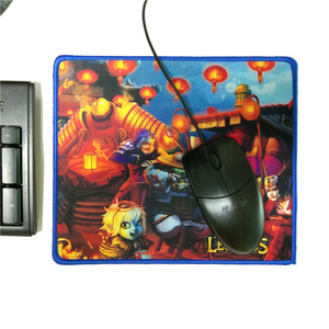 210X250X3mm Blue Stitched Edge Sublimation Printing Gaming Mouse Pad