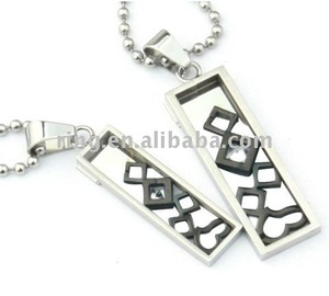 Han edition fashion black couple square titanium steel couple pendant