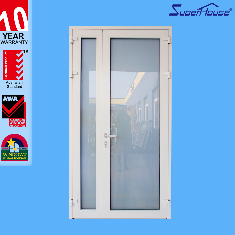 10 years warranty high quality Miami Dade NOA glazed exterior impact aluminium French door