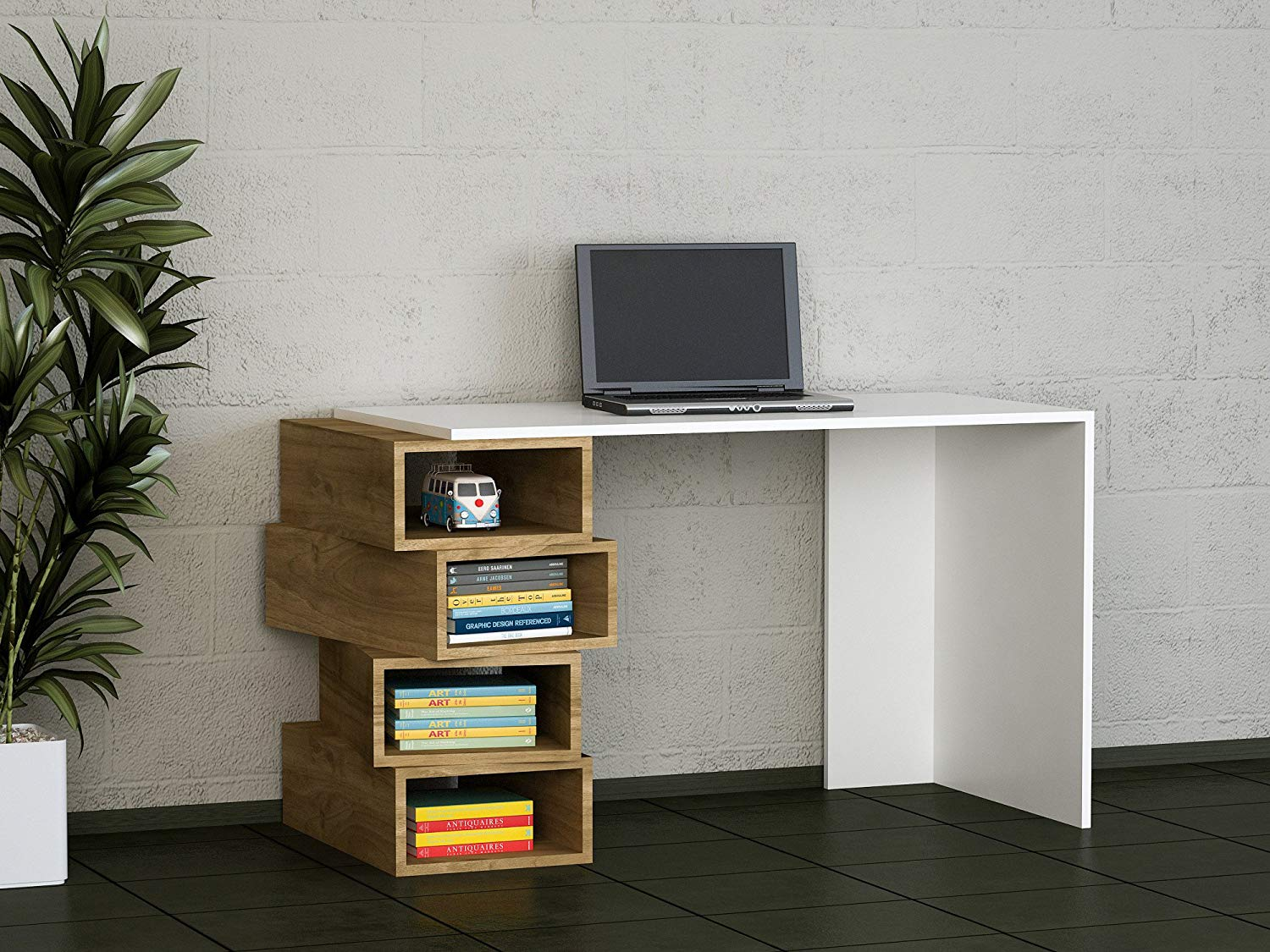 Buy Writing Computer Desk Modern & Simple Brown White Simple