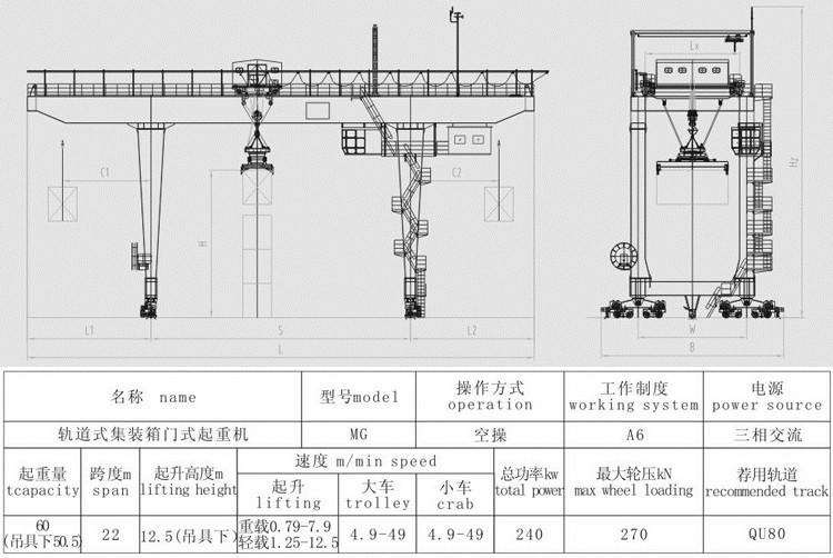 Good quality box type 60 ton u shape rmg double girder gantry crane for 20' 40' container