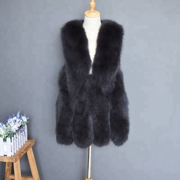Hot Selling Winter Women Elegant Fox Fur Gilet Fashion Ladies Black Fox Fur Vest