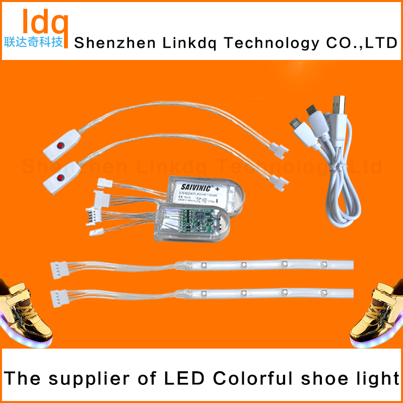 Hot sale RGB 7 color usb chargeable led flashing shoe light for child