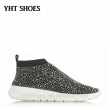 Promotional fashion women lady comfy flyknit lightweight rhinestone diamante speed socks trainers sneakers shoes for whosale