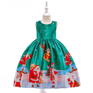Wholesale Baby Boutique Dress Kids Garments Girls Stylish Christmas Santa Print Party Frocks SD037C