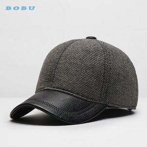 customize wholesale 6 panel wool leather bill baseball cap military