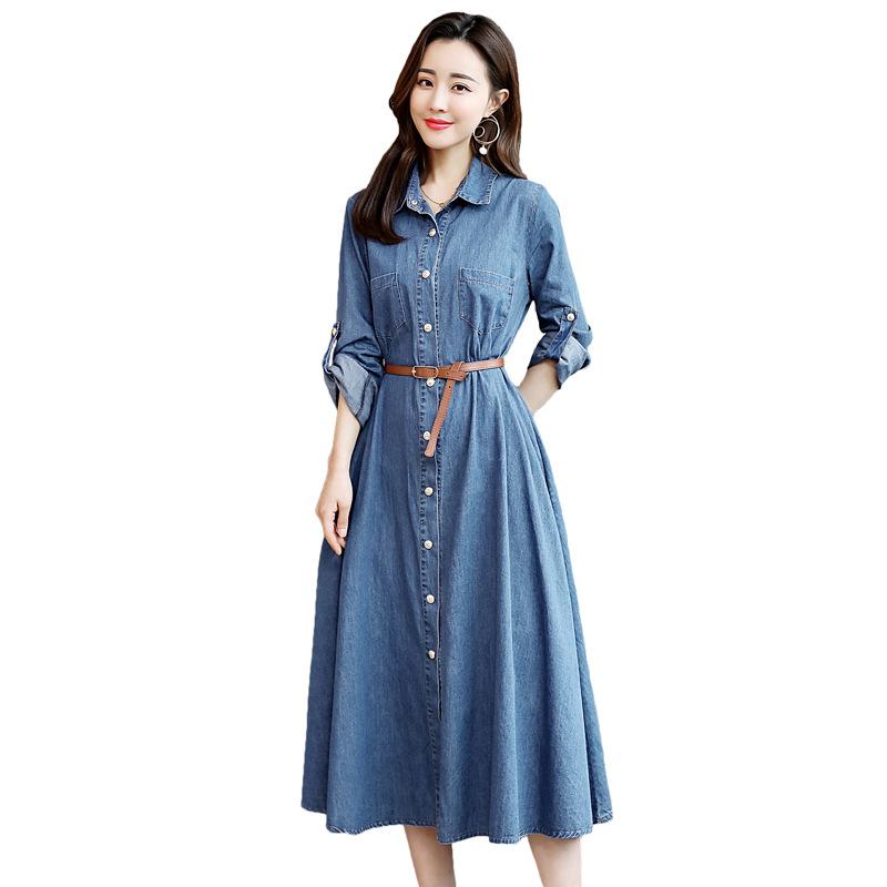 Autumn Womens Pocket Loose Dress plus size Ladies Crew Neck Casual Long Girl Tops maxi Dress Female Fashion Big Vestido Dress фото