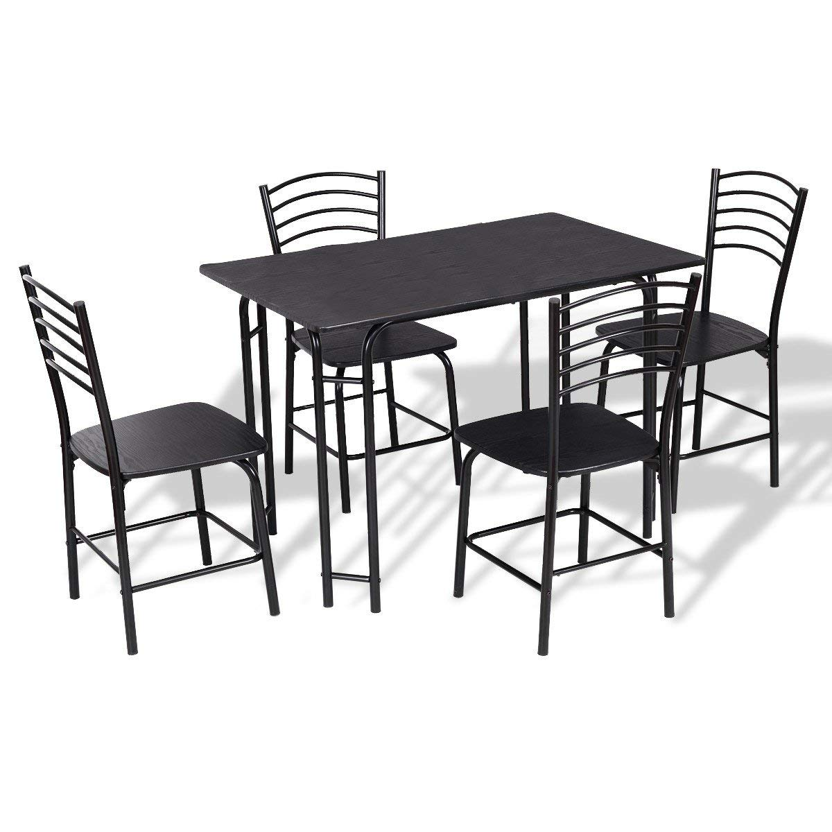 Imtinanz Modern Style 5 Pieces Black Dining Table and 4 Chairs Set
