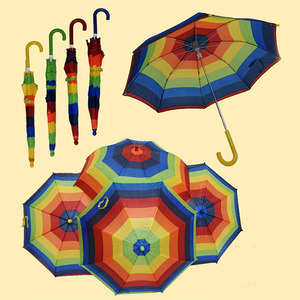 Bright Colourful rainbow children umbrella striped