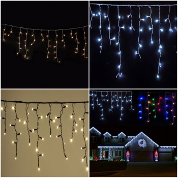 Purple Led Icicle Christmas Lights Outdoor Waterproof Fairy Falling String
