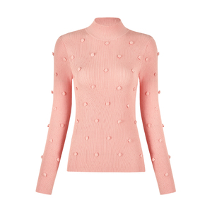 Fashion rib hand knitting decoration pink knitwear slim sweater