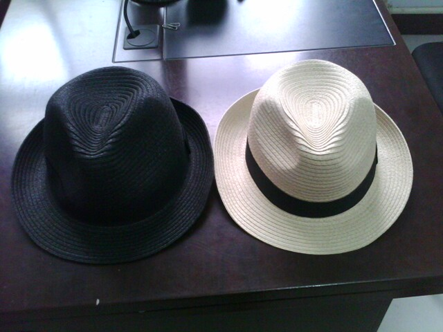 straw paper fedora trilby hat with black ribbon customized logo