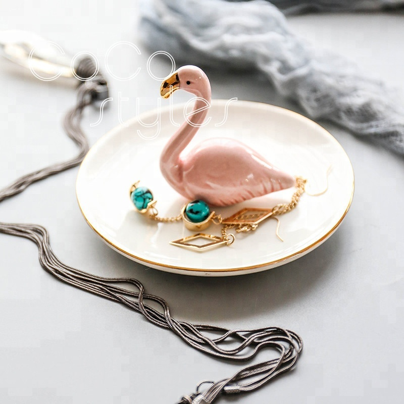 Cocostyles customized ins nordic style pink swan ceramic tray for home decoration