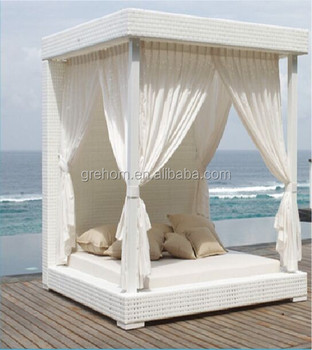 outdoor white rattan adult day bed with canopy buy. Black Bedroom Furniture Sets. Home Design Ideas