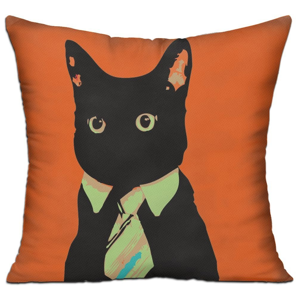 CY STORE Funny Meme Business Cats Square Cotton Linen Sofa Cushion Covers Decorative Home Zippered Custom Throw Pillow 18 X 18 Inch(contain Pillow Core)
