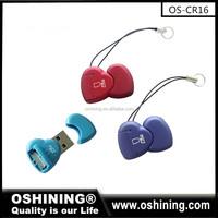 Promotion cheap usb 2.0 heart single slot TF card reader(OS-CR016)