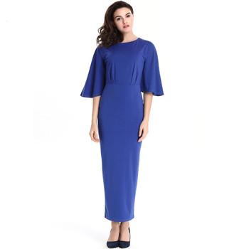 Latest Evening Dress For Fat Women Flare Sleeve Muslim Evening Dress