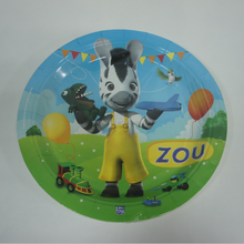 Color paper cartoon plate and cups for kids theme dinner plate