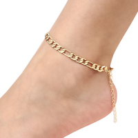 Cheap Simple Gold Metal Foot Leg Chain Elegant Figaro Sexy Footchain Link Ankle Bracelet For Women Men Jewelry
