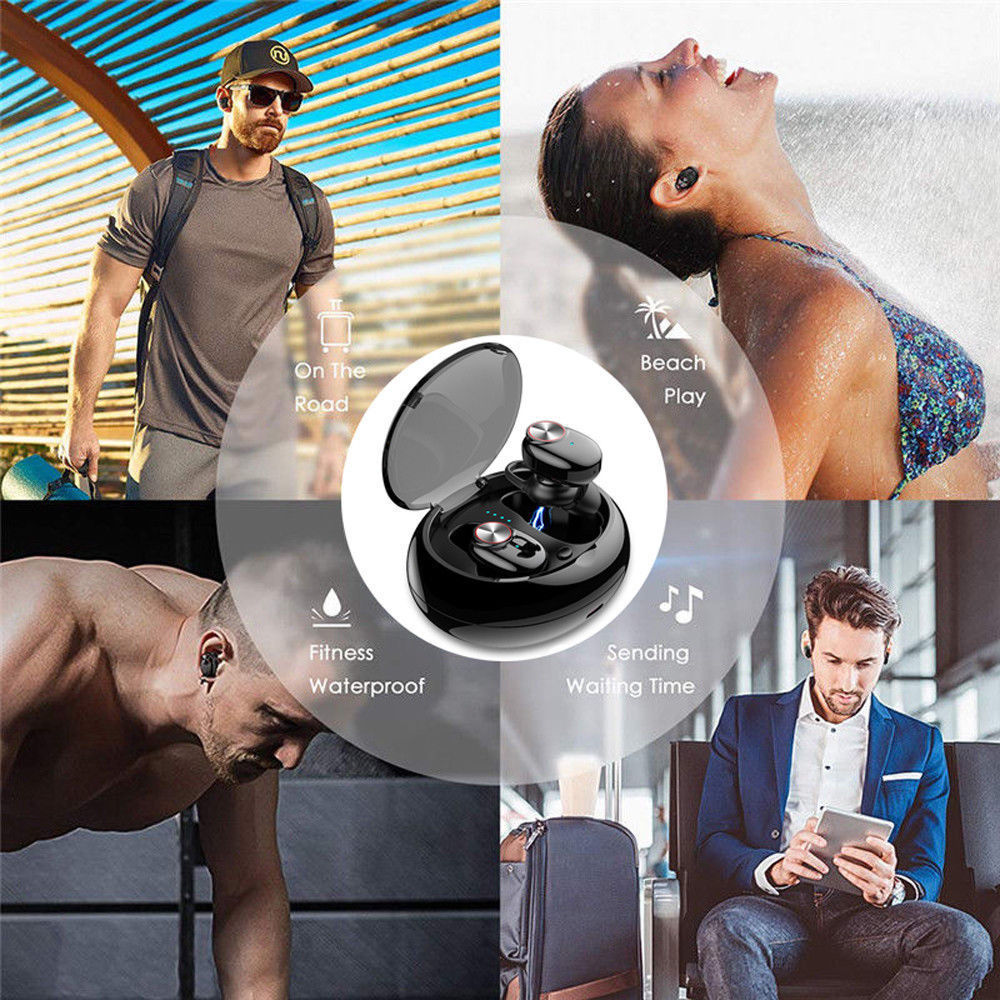 BHD dropshipping wireless bluetooth headset With V4.2+EDR Stereo Sound TWS V5 Wireless Earphone Built-in Microphone