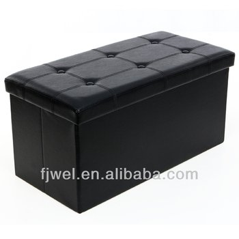 Cool Button Style Black Leather Folding Storage Pouffe Footrest Stool Ottoman Buy Leather Square Storage Ottoman Leather Cube Ottoman Suede Cube Pabps2019 Chair Design Images Pabps2019Com