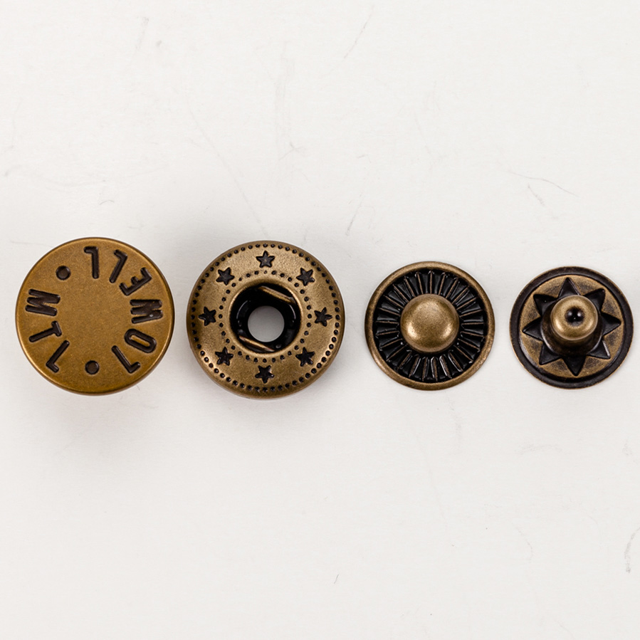 Eco friendly design custom logo brass press metal snap buttons for clothing, Customerized