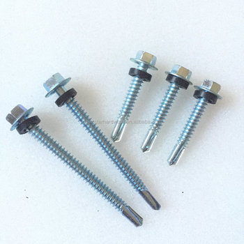 Hex head self drilling screws with EPDM washer and rubber washer