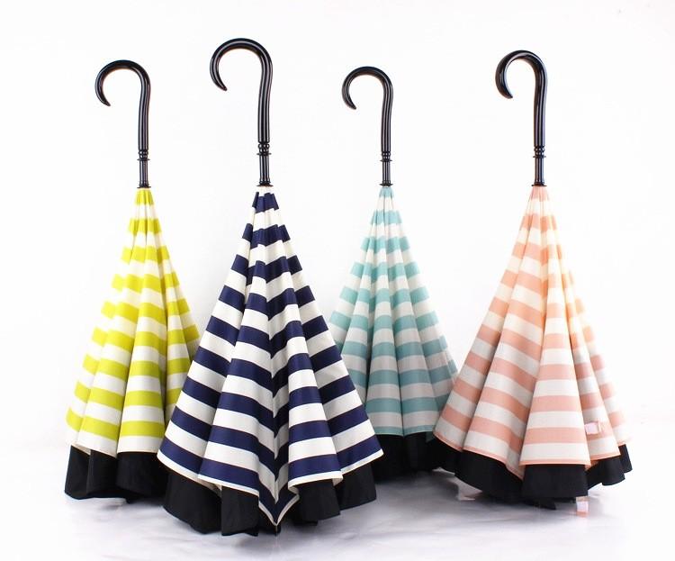 Navy Stripe Inverted Umbrellas C-shape J-shape Handle Waterproof Double  Layer Reverse Car Umbrella Paraguas Rain Umbrella - us613 bd527b43955