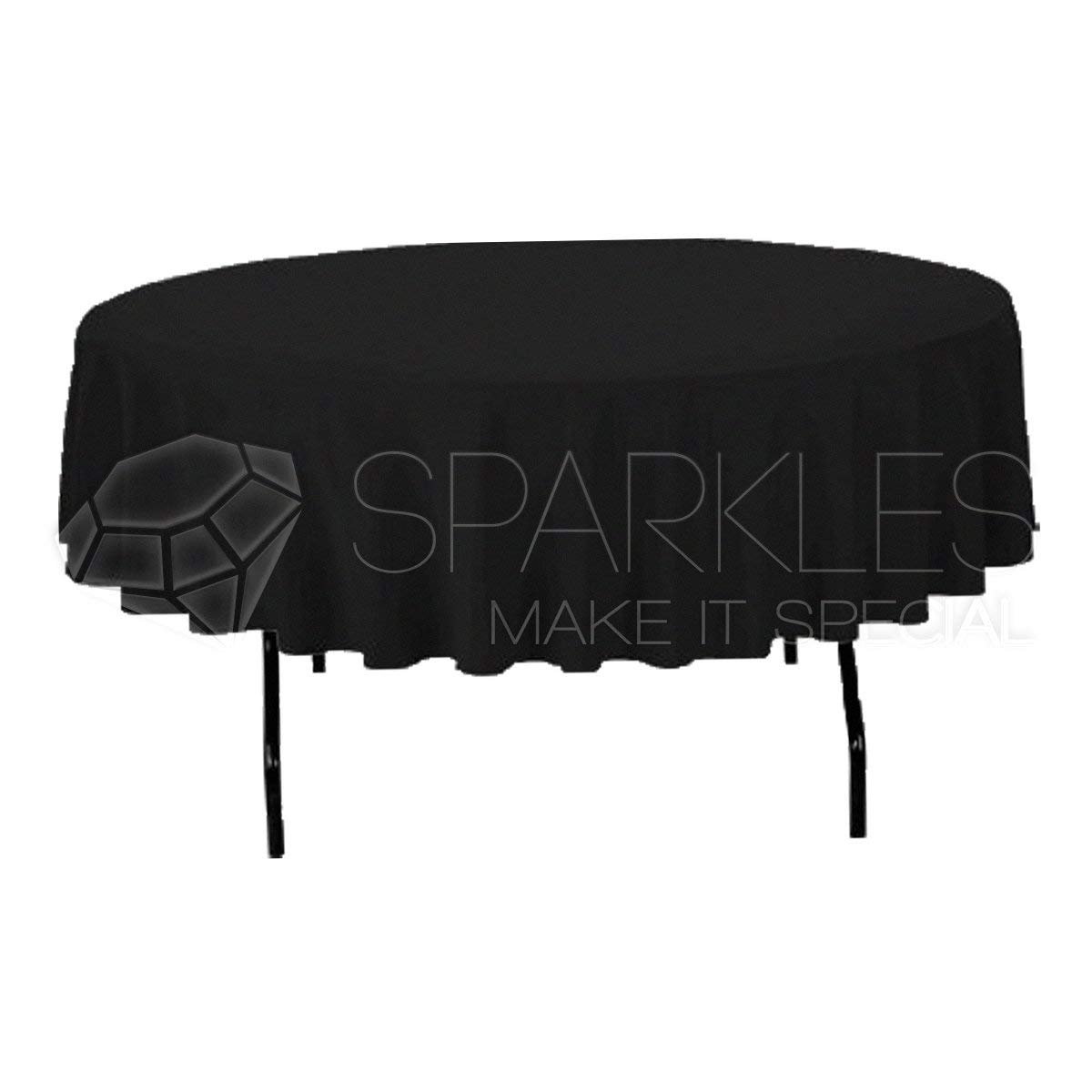 "Sparkles Make It Special 10-pcs 90"" inch Round Polyester Cloth Fabric Linen Tablecloth - Wedding Reception Restaurant Banquet Party - Machine Washable - Black"