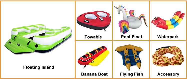 Custom 6 Rider Seats Inflatable Banana Boat Towable Tube For Rental