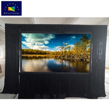 XY Factory Customized 80 100 200 300 400 inch Outdoor Portable Fast Fold Projection/Projector Screen with Black Curtain / Drape