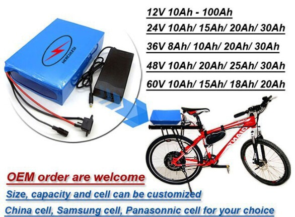 36V 10Ah LiFePO4 Battery Pack For 540W Electric Bike Bicycle With 3A Charger BMS