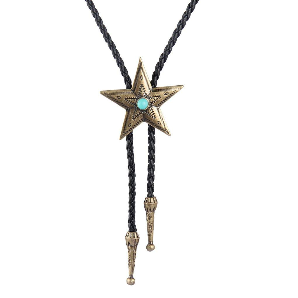 Bolo Tie Cowboy Neckties European American Leather Choker Necklace Star Turquoise Pendant Women,Men