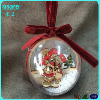 Decorating Christmas Clear Plastic Ball With Christmas Father Inisde