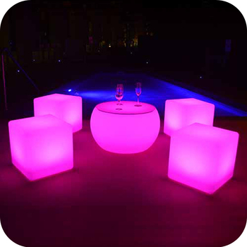 Cube Set Table Outdoor Dining Led Light Seat Glow
