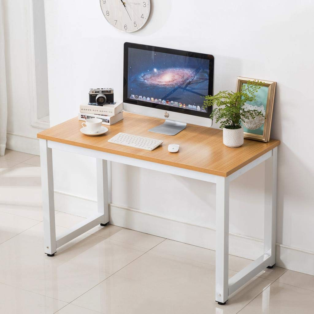 "Writing Table/Modern Computer Desk/Children Study Desk, Simple Design, Steel Frame, Wood Color Top, for Studio, Home Office,Workstation and School 43.3"" Lx23.6 Wx29.1 H"