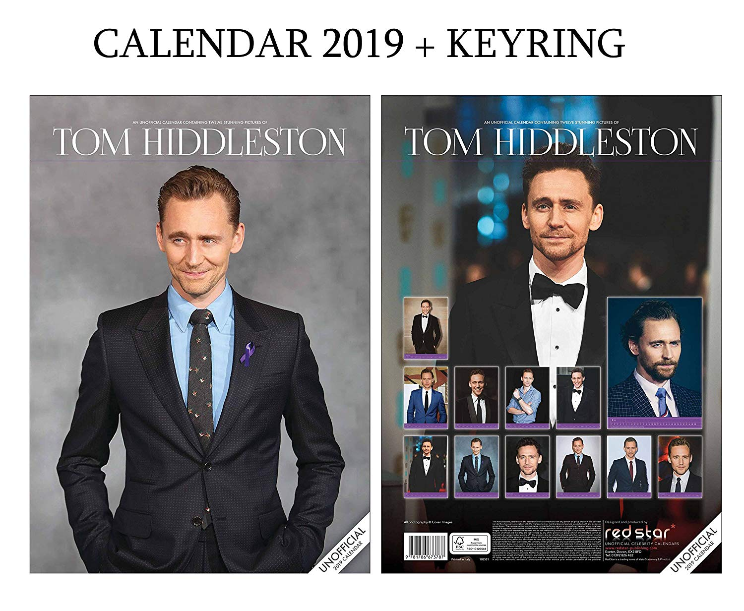 Tom Hiddleston Calendar 2019 (A3 Poster Size) + Tom Hiddleston Keyring