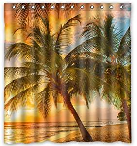 Unique Custom Hawaii Summer Beach Palm Tree Sunset Scenery Waterproof fabric Polyester Shower Curtain 72x72-Bathroom Decor