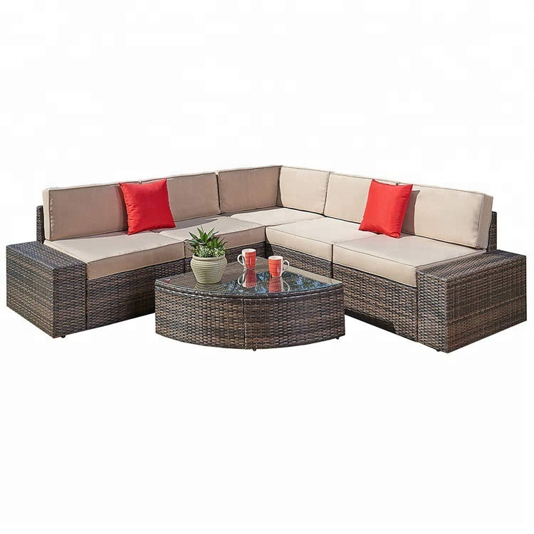 6 Pcs Rooms To Go Outdoor Furniture Rattan Wicker Sectional Sofa Set With Quarter Round Wedge Table